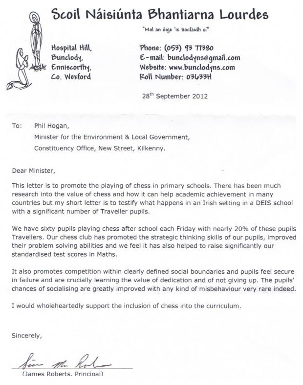 James Roberts, Principal Letter